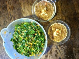 QUICK RAW APPLE PIE and KALE CARROT with ALMONDS salad