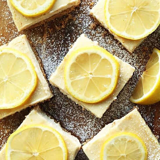 Vegan gluten free lemon cheese cake bars from the Minimalist